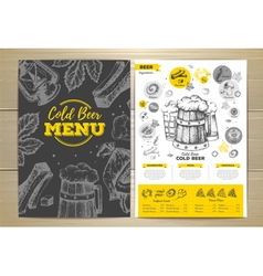 Vintage cold beer menu design vector image