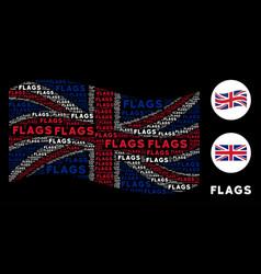 waving uk flag pattern of flags words vector image