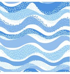 wavy sea ocean seamless pattern in modern style vector image