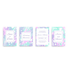 wedding invitation cards set with abstract vector image