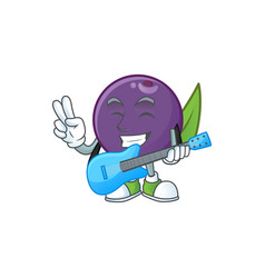 With guitar acai berries cartoon character vector