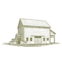 Woodcut mill vector