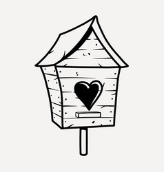 Wooden birdhouse with heart for birds outline vector