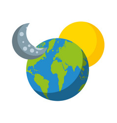World planet earth with moon and stars vector