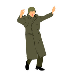 Ww2 germany soldier surrender with raised hands vector