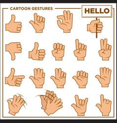 cartoon gestures showed by human hands vector image