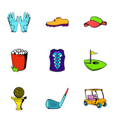 Golf ball icons set cartoon style vector