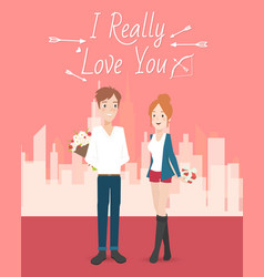 happy young couple vector image vector image