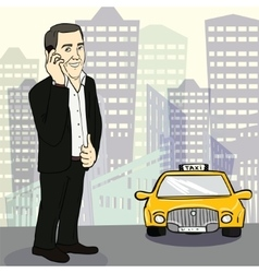 Man in suit catching taxi on the street vector image vector image