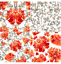set of seamless patterns with red flowers and vector image vector image