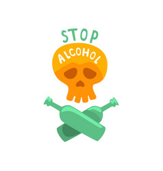 stop alcohol bad habit alcoholism concept with a vector image vector image