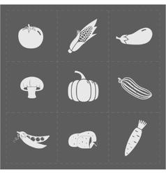 White Vegetable Icon Set on Grey Background vector image