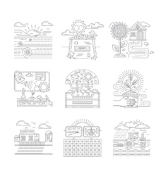 Agricultural farm icons set flat line style vector image vector image