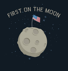 american flag stands on on the moon vector image vector image
