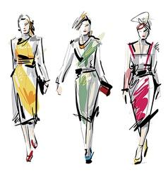 Artistic fashion sketches vector image