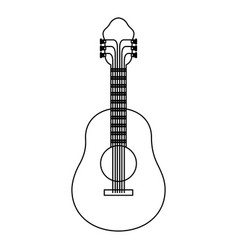 monochrome silhouette of acoustic guitar vector image vector image