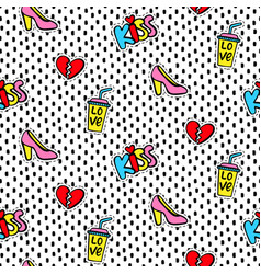 seamless pattern with fashionable patches vector image vector image