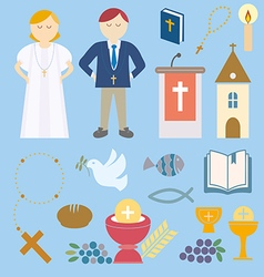 Set of design elements for First Communion vector image vector image