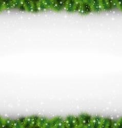 Shiny green pine branches like frame in snowfall vector