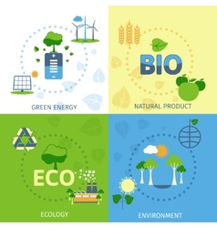 Ecology 4 flat icons composition vector image vector image