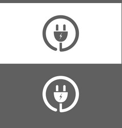 plug icon on a white and dark background vector image vector image