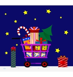 Shopping trolley full of gifts vector image vector image