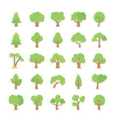 Trees flat colored icons vector
