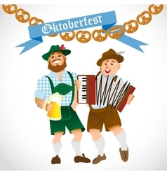 bavarian men with a big glass of beer vector image vector image