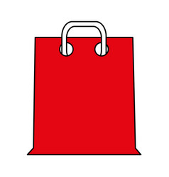 color silhouette cartoon red bag for shopping with vector image vector image