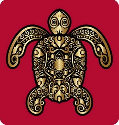 Golden turtle ornament vector image vector image