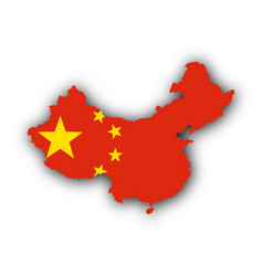 map and flag of china vector image vector image