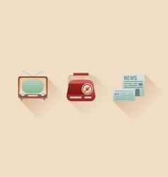 stylish retro flat icons of vintage media objects vector image