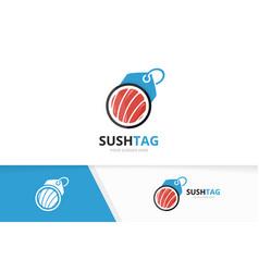 Sushi and tag logo combination japanese vector