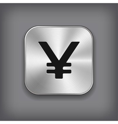 Yen icon - metal app button vector image