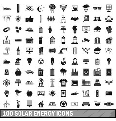 100 solar energy icons set simple style vector image