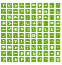 100 sport equipment icons set grunge green vector image