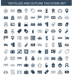 100 tag icons vector image