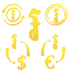 3d cambodian riel currency symbol set icon of vector