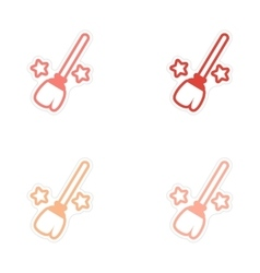 Assembly bright stickers witch magic broom with vector