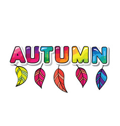Autumn cartoon paper cutout letters with leaves vector