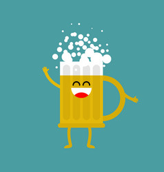 Beer happy isolated lager mug on white background vector