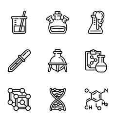 biology science icon set outline style vector image