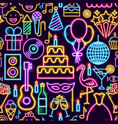 birthday party neon seamless pattern vector image