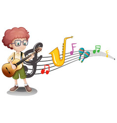 boy plays guitar and music notes in background vector image