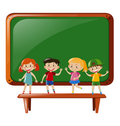 boys and girls standing on table vector image