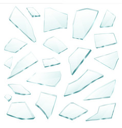 Broken glass fragments shards realistic set vector