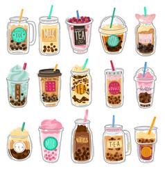 bubble tea plastic cups with summer bubble vector image