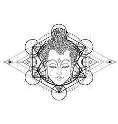 buddha face over ornate mandala round pattern vector image