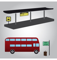 bus stop and bus eps10 vector image