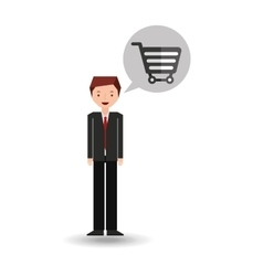 Business man cartoon and e-commerce vector